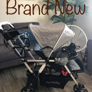 Double Stroller Convenience Urban Twin Carriage Stroller Tandem Collapsible Stroller (Oxford Grey) for Sale in Phoenix, AZ