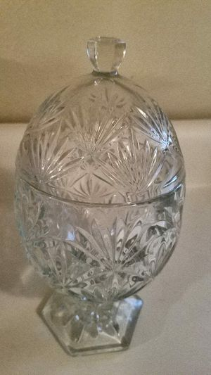 Vintage 2 Piece Cut Glass Crystal Egg Candy Dish for Sale in Dallas, TX