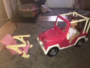Americans girl and accessories:Jeep, kitchen, refrigerator and ice cream polar. for Sale in Miami, FL