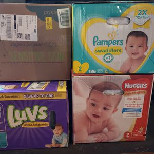 Nib Size 2 Diapers Luvs, Seventh Generation, Pampers And Huggies for Sale in Herndon, VA