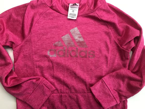 Hot pink adidas hoodie kids large adult small