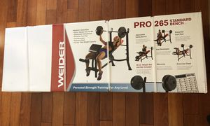 NEW! Weider Pro 265 Standard Bench with 80 Lb. Vinyl Weight Set for Sale in San Leandro, CA