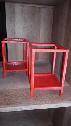 Red crackle painted candle holders for Sale in Salem, OR