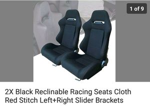 2 Black Reclinable Racing Seats - Black Cloth w/red stitching for Sale in Cary, NC