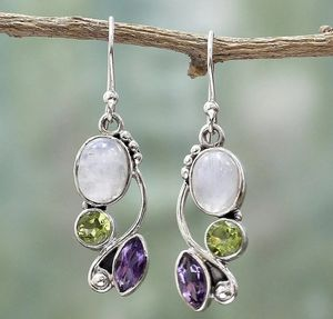 Dangle hook earrings natural stone. aretes de piedras naturales for Sale in San Leon, TX