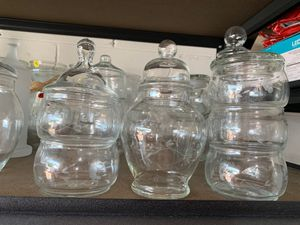 Princess house crystal Candy Jar w/ lid. 5-stack up candy dish w/ id & one extra lid bought separate. All 9 pieces for$32.50 or best offer for Sale in Kissimmee, FL