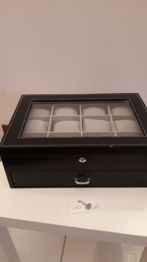 Locking , Black Watch Box, 24 Velvet Pillow Slots , Framed Display Lid, Contrast Stitching, Sturdy & Secure 17.25 x 12 x 6.5 for Sale in Plantation, FL