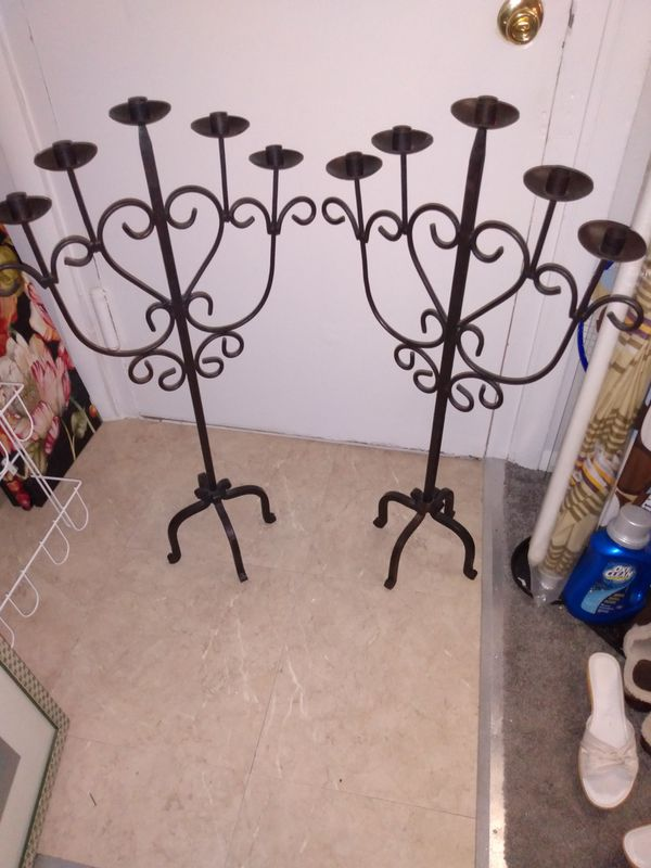Solid metal floor candle holder 36 tall