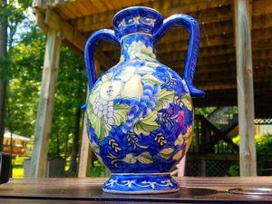 Elegant Royal Blue Vintage Flower Pottery Vase for Sale in Fairfax, VA
