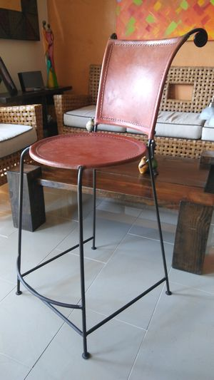BAR STOOL - LEATHER / IRON for Sale in Pompano Beach, FL