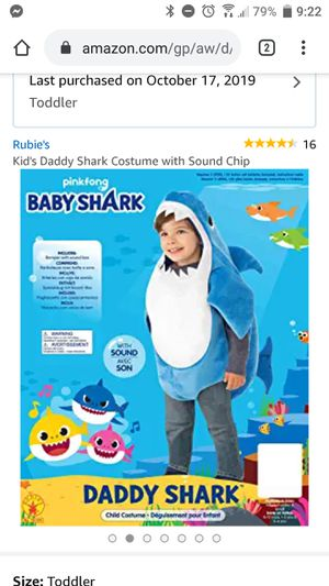 Daddy Shark Costume 2T for Sale in Naples, FL