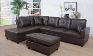 Brown L share Couch with ottoman. leather for Sale in Alameda, CA