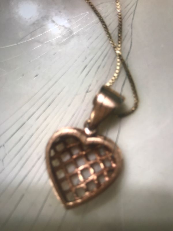 Russian Gold Basket weave heart with 14k chain