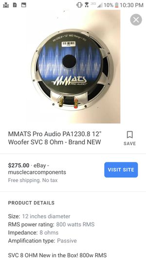Mmat pro audio 8inch for Sale in Philadelphia, PA