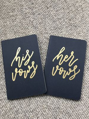 His and hers wedding vows books navy blue and gold for Sale in Chicago, IL