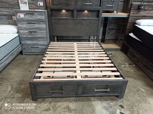 New Solid Wood Queen Storage Bed, Grey, SKU# FOACM7500GYQTC for Sale in Santa Fe Springs, CA