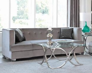 Sofa with Accent Pillows Velvet Upholstery in Silver Color for Sale in Arcadia,  CA