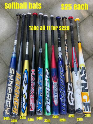 Softball gloves and softball bats equipment Easton mako demarini mizuno Louisville slugger Rawlings Wilson easton for Sale in Los Angeles, CA