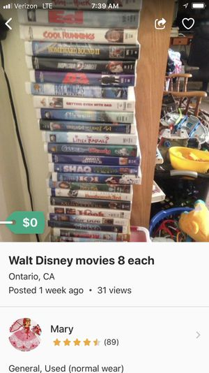 VHS movies some Disney's 8.00 each for Sale in Montclair, CA