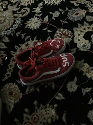 Red custom supreme vans for Sale in Hayward, CA
