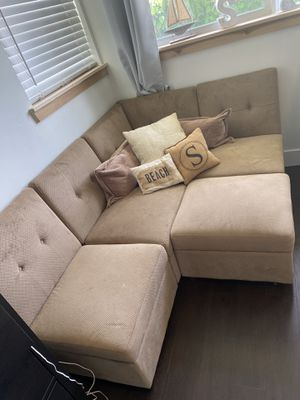 Sectional Couch with Storage / light brown- soft cloth material for Sale in Boca Raton, FL