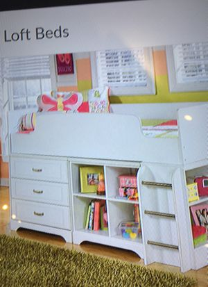 Twin loft bed with bin storage and also bookcase for Sale in Modesto, CA