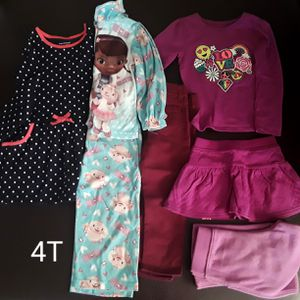 Lot of clothes girl Pajama Dress Pants Size 4T for Sale in Phoenix, AZ