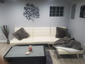 White leather sectional futon for Sale in Chicago, IL