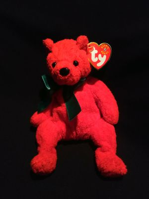 Mint Condition Ty Beanie Babies 2000 Mistletoe The Red Holiday Bear With Green Christmas Ribbon Birthday December 18, 2000 for Sale in Gresham, OR
