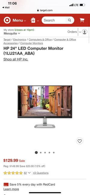 """HP 24"""" LED computer monitor for Sale in Fort Worth, TX"""