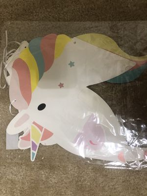 Unicorn birthday banner party decoration.... for Sale in Gaithersburg, MD