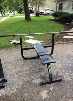Bench press with Olympic bar for Sale in Bolingbrook, IL