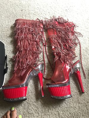 Knee high red pleaser boots with fringes size 7 for Sale in Virginia Beach, VA