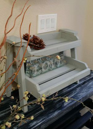 "14""H X 20""W X 10""D 🌱2 Tier (2/3 Planks) Solid Wood Tray Shelf ::: Rustic Still Gray for Sale in Las Vegas, NV"