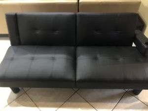 Black faux leather futon for Sale in Miami, FL