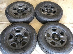 Factory ((brand new)) Jeep wheels and tires Goodyear Wrangler Kevlar tire 245/75/17 for Sale in Modesto, CA