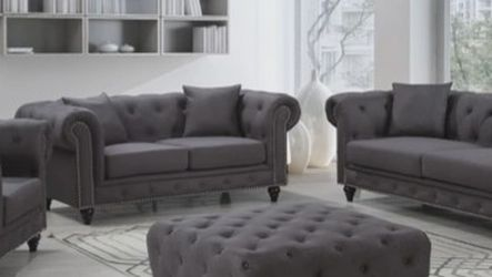 💥Fast Delivery🚀EXCLUSIVE] Chesterfield Linen Gray Living Room Set by Meridian for Sale in Washington,  DC