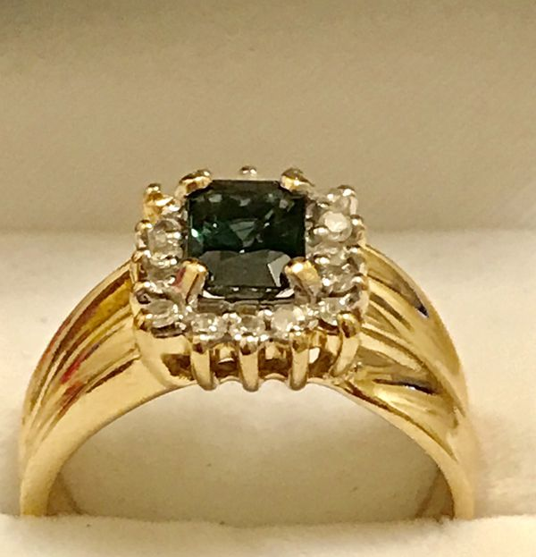 14k gold, 1ct. Vivid green Tourmaline and Diamond Ring