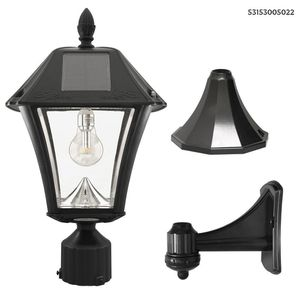 GAMA SONIC Baytown II Bulb 1-Light Black LED Outdoor Solar Post/Wall Light with GS Light Bulb Warm-White for Sale in Dallas, TX