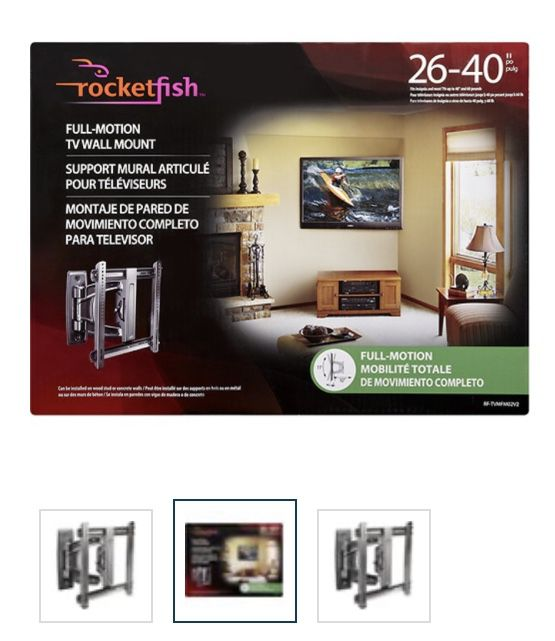 """Rocketfish - Full-Motion TV Wall Mount for Most 26"""" - 40"""" Flat-Panel TVs - Extends 9.7"""" - Black"""