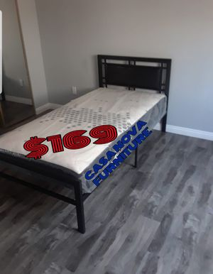 BRAND NEW BED FRAME TWIN COMES IN BOX 📢📢📢📢MATTRESS INCLUDED 📢📢📢📢📢📢📢AVAILABLE FOR SAME DAY DELIVERY OR PICK UP for Sale in Compton, CA