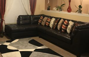 Black leather sectional couch for Sale in Orange City, FL