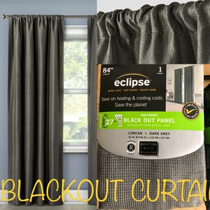 New Blackout Curtains • Floor Length Dark Grey Gray Window Treatment • Home House for Sale in Washington, DC