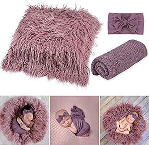 Newborn Photography Props, Fascigirl 3PCS Toddler Photo Blankets Wrap and Headband Long Hair Photography Wrap Shaggy Area Rug Photo for Sale in Altamonte Springs, FL