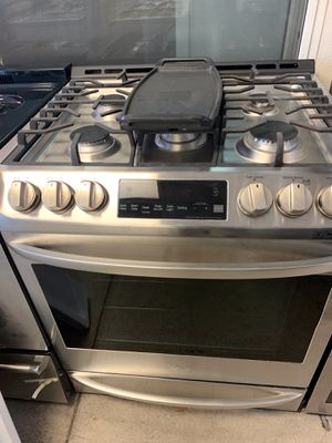 San Carlos appliances. Sale& services. Used, LG brand gas stove, STAINLESS , 5 burners, electronic ignition , SLIDE IN stove,, self clean oven, grea for Sale in San Jose, CA