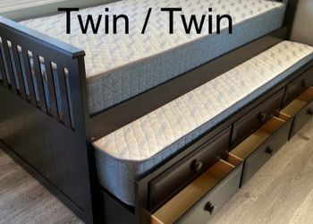 New Twin-Twin Captain Bed W/drawers & New Mattresses Included for Sale in Morgan Hill,  CA