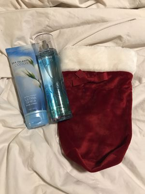 Bath & Body Works Sea Island Cotton 24 Hour Moisture Body Cream and Fragrance Mist in a cute Christmas Bag - All new!! - $12 Firm for Sale in Raleigh, NC