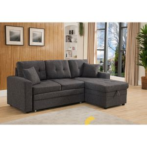 Gray Linen Sectional With Reversible Chaise Storage and Pull Out Sofa for Sale in Monterey Park, CA