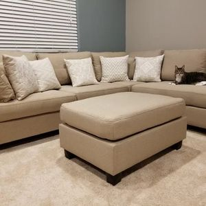 Brand new tan sectional sofa with ottoman for Sale in Silver Spring, MD