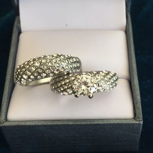 Sterling silver wedding engagement ring band set size 6 and 7 available casual jewelry for Sale in Silver Spring, MD